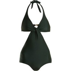 Adriana Degreas - V Neck Cut Out Swimsuit - Womens - Dark Green found on MODAPINS from Matches UK for USD $184.38