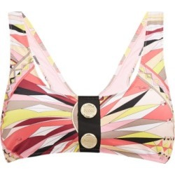 Emilio Pucci - Logo-button Printed Bikini Top - Womens - Pink Print found on MODAPINS from Matches Global for USD $260.00