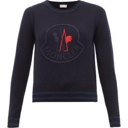 Moncler - Logo-embroidered Wool-blend Sweater - Womens - Navy Multi found on Bargain Bro India from Matches Global for $655.00