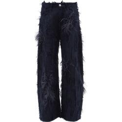 Marques'almeida - Feather-trimmed Distressed Boyfriend Jeans - Womens - Dark Denim found on MODAPINS from MATCHESFASHION.COM - AU for USD $412.79