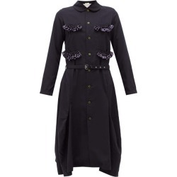 Comme Des Garçons Girl - Ruffle-trim Belted Canvas Midi Dress - Womens - Navy found on MODAPINS from Matches UK for USD $493.23