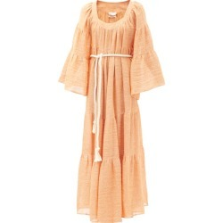 Lisa Marie Fernandez - Peasant Square-neck Linen-blend Gauze Dress - Womens - Orange found on MODAPINS from Matches UK for USD $1116.72