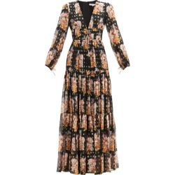Borgo De Nor - Freya Floral-print Tiered Silk-blend Maxi Dress - Womens - Black Multi found on MODAPINS from Matches UK for USD $1651.23