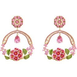 Dolce & Gabbana - Floral Bloom Crystal And Enamel Drop Clip Earrings - Womens - Pink found on Bargain Bro from Matches UK for £704