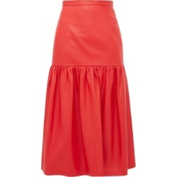 Christopher Kane - Gathered Leather Midi Skirt - Womens - Red found on MODAPINS from MATCHESFASHION.COM - AU for USD $497.48