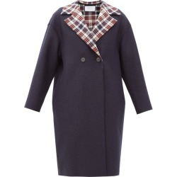 Harris Wharf London - Double-breasted Tartan-lined Pressed-wool Coat - Womens - Navy found on MODAPINS from Matches Global for USD $700.00