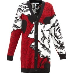 MSGM - Rose-jacquard Longline Wool-blend Cardigan - Womens - Red Multi found on Bargain Bro UK from Matches UK