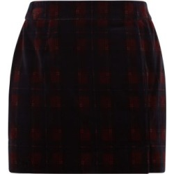 Bella Freud - Tartan Cotton-velvet Mini Suit Skirt - Womens - Burgundy found on MODAPINS from MATCHESFASHION.COM - AU for USD $292.34