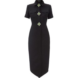 David Koma - Crystal-embellished Wool-blend Dress - Womens - Black Silver found on MODAPINS from MATCHESFASHION.COM - AU for USD $2347.83