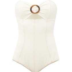 Lisa Marie Fernandez - Ring-front Cutout Strapless Swimsuit - Womens - Cream found on MODAPINS from Matches UK for USD $501.82