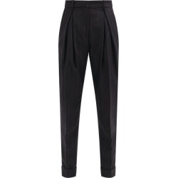 Ann Demeulemeester - Lamé-striped Virgin-wool Blend Tailored Trousers - Womens - Black Stripe found on MODAPINS from Matches Global for USD $558.00