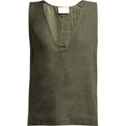 Asceno - Deep V Neck Linen Top - Womens - Khaki found on MODAPINS from MATCHESFASHION.COM - AU for USD $175.37