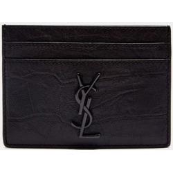 Saint Laurent - Ysl-plaque Crocodile-effect Leather Cardholder - Mens - Black found on Bargain Bro UK from Matches UK