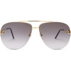Cartier Eyewear - Core Aviator Metal Sunglasses - Womens - Grey Gold found on MODAPINS from Matches Global for USD $945.00