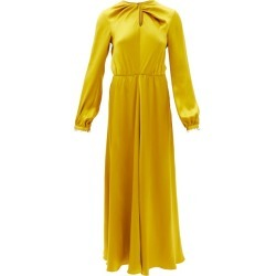 Giambattista Valli - Twisted-front Pearl-embellished Silk-satin Dress - Womens - Yellow Gold found on MODAPINS from Matches Global for USD $4790.00