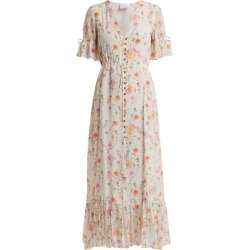 Athena Procopiou - Gold In The Air Of Summer Silk Dress - Womens - White Print found on MODAPINS from MATCHESFASHION.COM - AU for USD $377.56