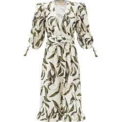 Adriana Degreas - Floral-print Plunge-neck Cotton Midi Dress - Womens - Cream Print found on MODAPINS from MATCHESFASHION.COM - AU for USD $1075.34