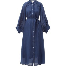 Anaak - Cleo Balloon-sleeve Cotton-blend Midi Shirt Dress - Womens - Navy found on MODAPINS from Matches UK for USD $248.30