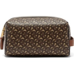 Burberry - Tb-monogram Coated-canvas Wash Bag - Mens - Brown found on Bargain Bro from Matches UK for £402