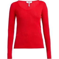 MSGM - Scoop-neck Stretch-knit Top - Womens - Red found on Bargain Bro UK from Matches UK