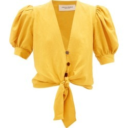 Adriana Degreas - Tie-front Blouse - Womens - Yellow found on MODAPINS from Matches UK for USD $241.34