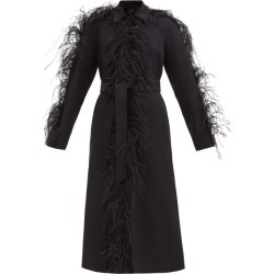 Giambattista Valli - Single-breasted Feather-trim Twill Coat - Womens - Black found on MODAPINS from Matches Global for USD $3870.00