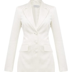 Gabriela Hearst - Windowpane-check Single-breasted Satin Blazer - Womens - Ivory found on MODAPINS from Matches UK for USD $769.31