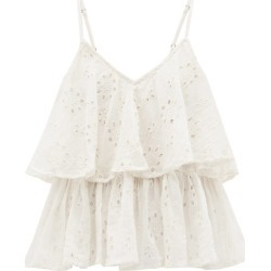 Mes Demoiselles - Beluga Ruffled Broderie-anglaise Cotton Cami Top - Womens - Ivory found on MODAPINS from MATCHESFASHION.COM - AU for USD $175.74