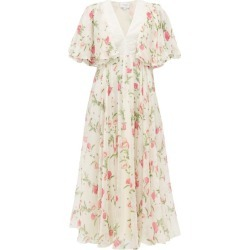 Giambattista Valli - Poppy-print Silk-georgette Midi Dress - Womens - Ivory Multi found on MODAPINS from Matches Global for USD $1227.00