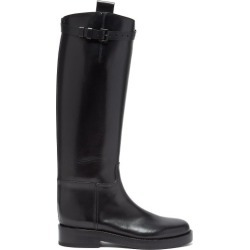 Ann Demeulemeester - Buckled-strap Knee-high Leather Boots - Womens - Black found on MODAPINS from Matches Global for USD $1245.00