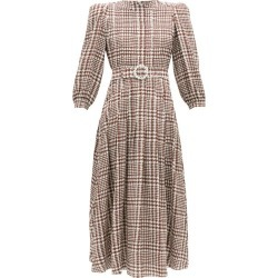Alessandra Rich - Crystal-belt Pleated Houndstooth Silk Midi Dress - Womens - Brown White found on MODAPINS from MATCHESFASHION.COM - AU for USD $1235.28
