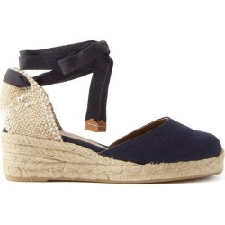 Castañer - Carina 30 Canvas & Jute Espadrille Wedges - Womens - Navy found on MODAPINS from Matches UK for USD $116.16