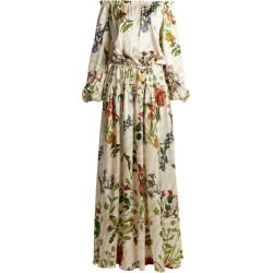 Adriana Iglesias - Creek Floral Print Silk Blend Gown - Womens - White Multi found on MODAPINS from MATCHESFASHION.COM - AU for USD $1827.77