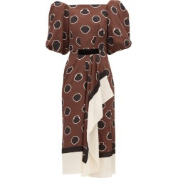 Johanna Ortiz - Unexpected Territory Puff-sleeve Silk Dress - Womens - Brown found on MODAPINS from MATCHESFASHION.COM - AU for USD $505.90