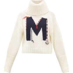 Moncler - Logo-jacquard Chunky-knit Roll-neck Sweater - Womens - White Multi found on Bargain Bro India from Matches Global for $700.00