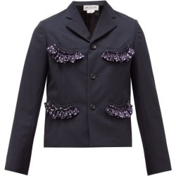 Comme Des Garçons Girl - Single-breasted Ruffle-trim Crepe Jacket - Womens - Navy found on MODAPINS from Matches UK for USD $458.82
