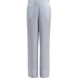 Asceno - Polka Dot Sandwashed Silk Pyjama Trousers - Womens - Light Blue found on MODAPINS from MATCHESFASHION.COM - AU for USD $209.76