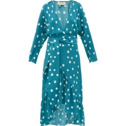 Adriana Degreas - Polka-dot Silk-crepe Midi Dress - Womens - Blue Print found on Bargain Bro UK from Matches UK