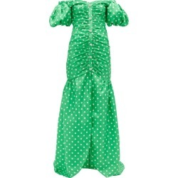 Alessandra Rich - Off-the-shoulder Polka-dot Silk Gown - Womens - Green White found on MODAPINS from MATCHESFASHION.COM - AU for USD $1090.57