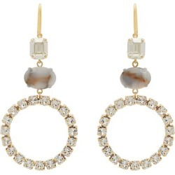 Isabel Marant - Strass-embellished Hoop Drop Earrings - Womens - White found on Bargain Bro UK from Matches UK