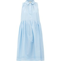 Anaak - Sophie Pintucked Cotton-blend Dress - Womens - Light Blue found on MODAPINS from Matches UK for USD $310.38