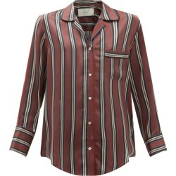 Asceno - Paris Striped Sandwashed-silk Pyjama Shirt - Womens - Burgundy Stripe found on MODAPINS from MATCHESFASHION.COM - AU for USD $272.57