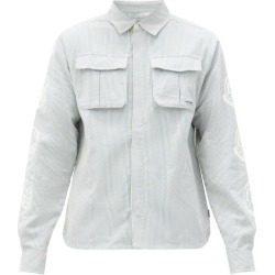 Billionaire Boys Club - Logo Striped Cotton-seersucker Shirt - Mens - Light Blue found on MODAPINS from Matches UK for USD $266.13