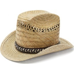 Saint Laurent - Leather And Braid-trimmed Straw Hat - Mens - Beige found on Bargain Bro UK from Matches UK