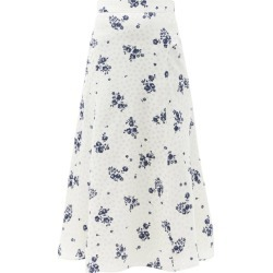 Alessandra Rich - Floral-print Silk-satin Midi Skirt - Womens - White Print found on MODAPINS from Matches Global for USD $1020.00