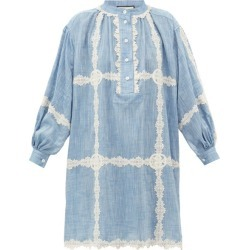 Gucci - GG Lace-trimmed Cotton-chambray Dress - Womens - Blue found on Bargain Bro Philippines from Matches Global for $3600.00