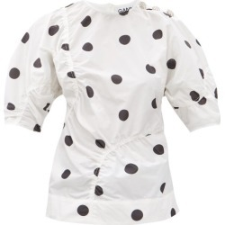 Ganni - Gathered Polka-dot Poplin Top - Womens - White Multi found on MODAPINS from Matches Global for USD $345.00