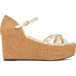 Jimmy Choo - Delany 80 Leather Espadrille Wedge Sandals - Womens - Gold