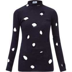 Prada - Distressed Open-weave Wool Sweater - Womens - Navy found on Bargain Bro UK from Matches UK