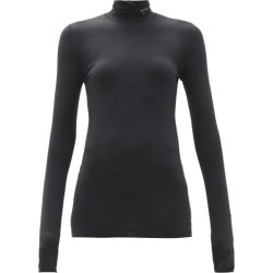 Prada - Triangle Logo-plaque High-neck Jersey Top - Womens - Black found on Bargain Bro UK from Matches UK